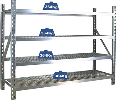 29205 - Industrial Steel Shelving with Wire Decking 4 Tiers