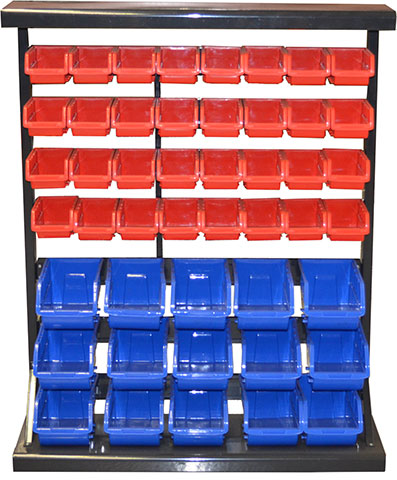 29380 -Single Side Storage Bin Rack with 47 Bins