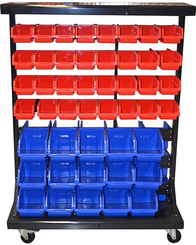 29390 - Mobile Double-Side Storage Bin Rack with 94 Bins