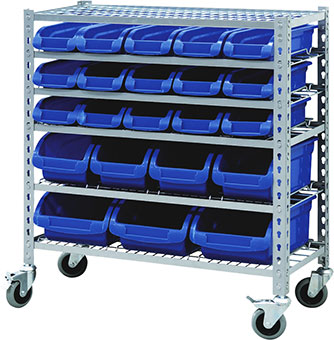 29391 - Mobile Storage Bin Rack with 22 Bins