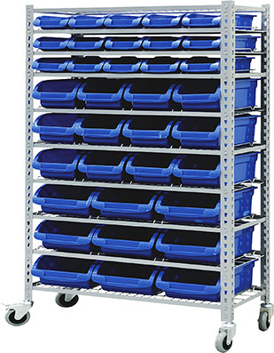 29393 - Mobile Storage Bin Rack with 36 Bins