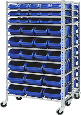 29395 - Mobile Storage Bin Rack with 72 Bins
