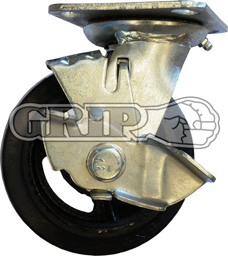 42080 - RUBBER MOULDED IRON WHEEL CASTOR(Swivel/Brake)