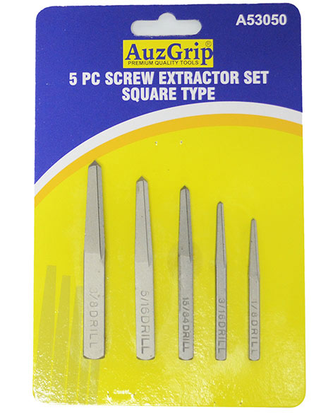 A53050 - 5 Pc Screw Extractor Set Square Type