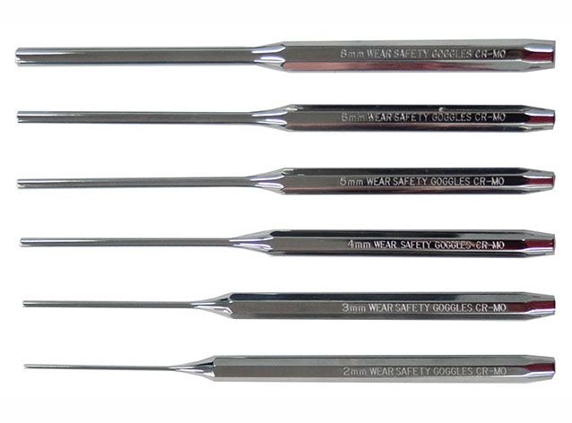 A71400 - 6 Pc Long Pin Punch Set 200mm