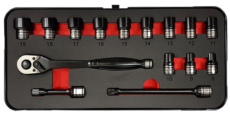 "A84301 -15Pc 3/8""dr. 6pt Metric Thin Wall Impact/Hand Socket Set"
