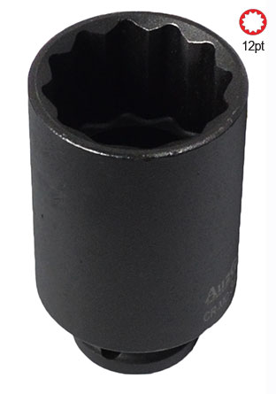 "A84460 - 1/2"" Sq. Dr. 12Pt Deep Impact Socket 12mm"