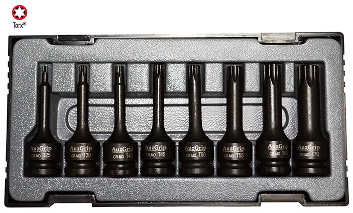 "A84602 - 8 Pc 1/2"" Sq. Dr. Impact Torx Bit Socket Set"