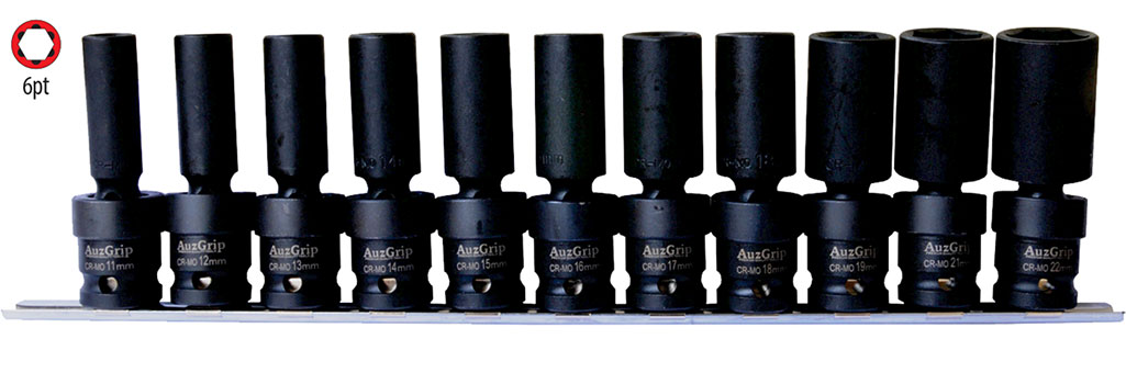 "A84608 - 11 Pc ½"" Sq. Dr. Deep Swivel Impact Socket Set"