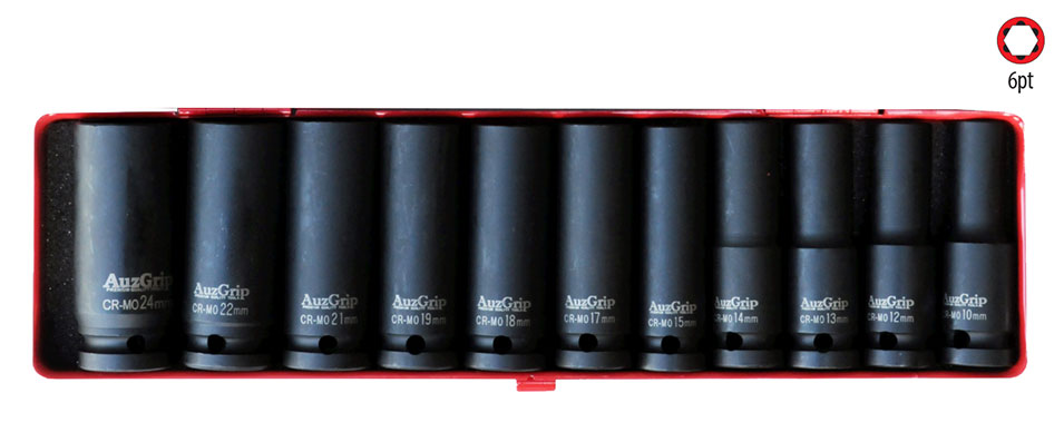 "A84611 - 11 Pc 1/2"" Sq. Dr. 6Pt Deep Impact Socket Set SAE"