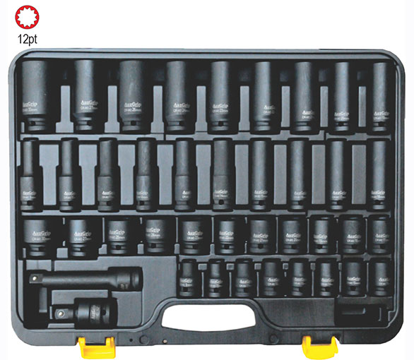 "A84401 - 40 Pc 1/2"" Sq. Dr. 12Pt Deep & Stand. Impact Socket Set"