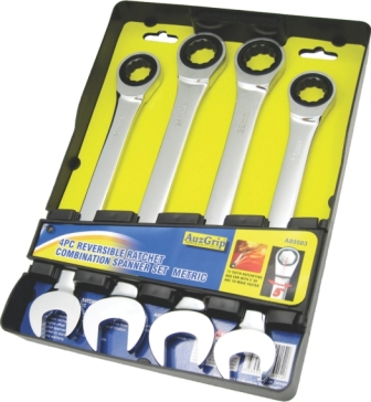 A89503 - 4 Pc Reversible Ratchet Spanner Set CrV. mm