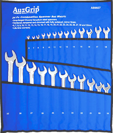 A89607 - 24 Pc Combination Spanner Set Metric