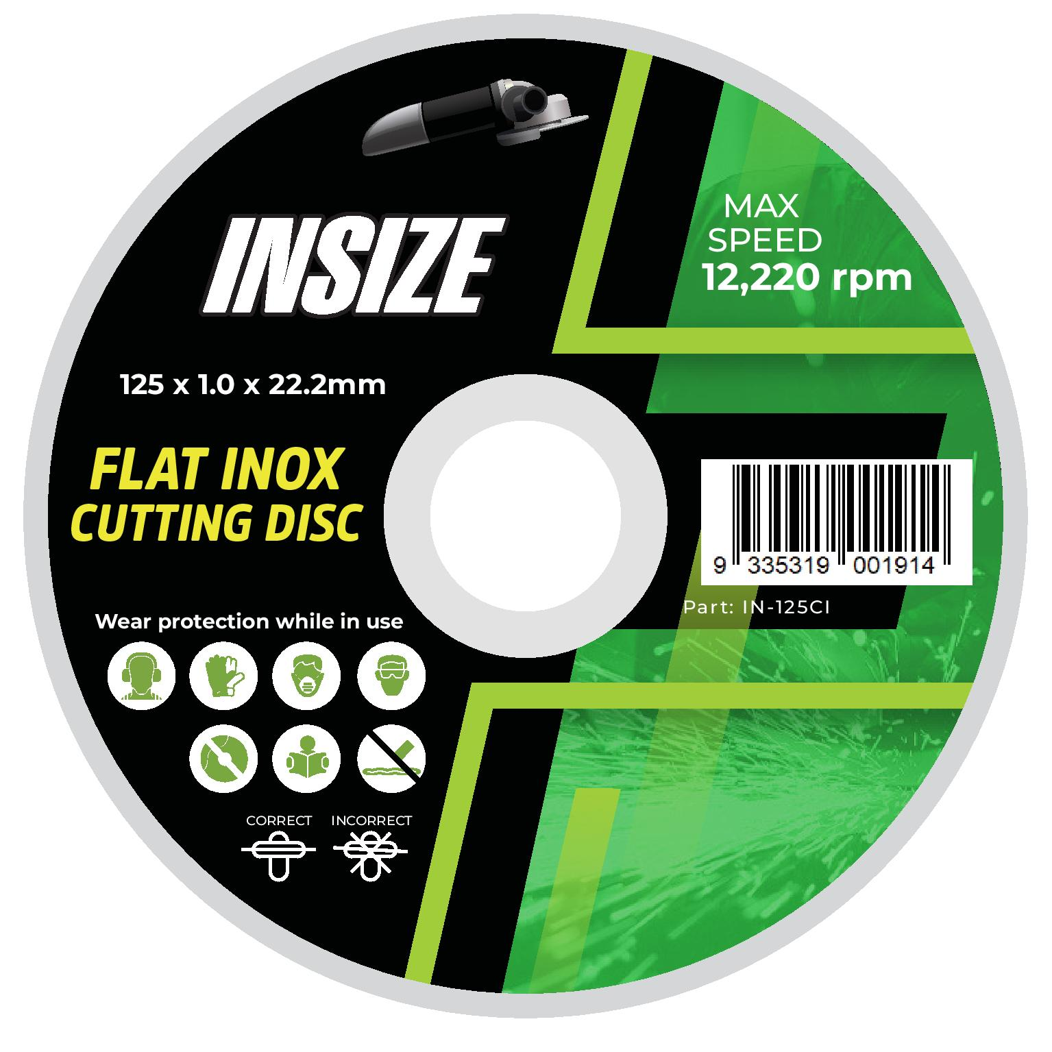IN-125CI 125 x 1.0 x 22.2mm Flat Inox Cutting Disc