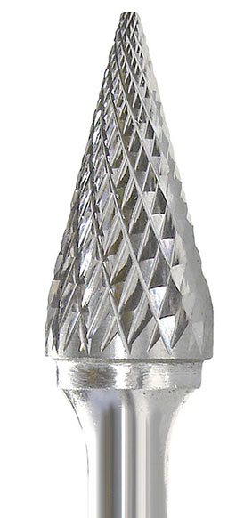 INSM-3 Pointed Cone Shape Carbide Burr Double Cut