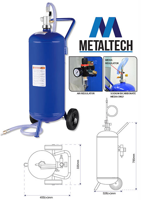 MTSB07G - Metaltech 7 Gallon (26.5lt) Portable Soda Blaster