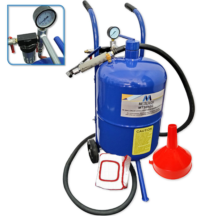 MTSB10G-10 Gallon (38L) Deluxe Portable Sandblaster Kit
