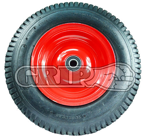 "52107 - Grip 400mm 180kg Steel Centered Pneumatic Wheel 1"" Axle Diameter"