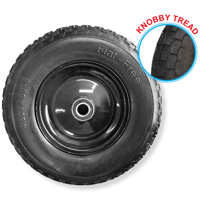 "52120 - Grip 400mm 200kg Steel Centered Puncture Proof  Wheel 1"" Axle Diameter"