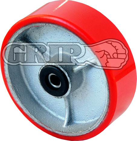 52160 Grip100mm 230kg Polyurethane on Cast Iron Wheel 13 mm Axle Diameter
